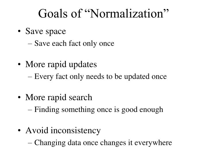 "Goals of ""Normalization"""