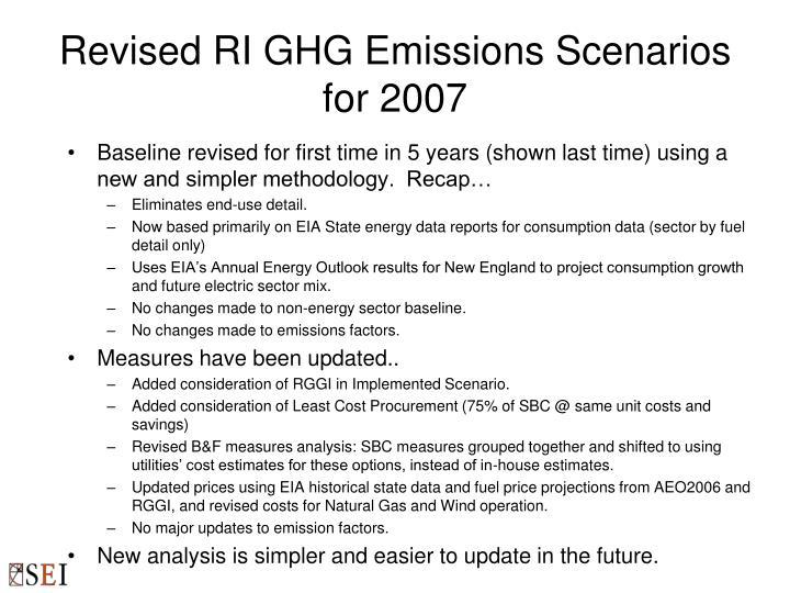 Revised ri ghg emissions scenarios for 2007