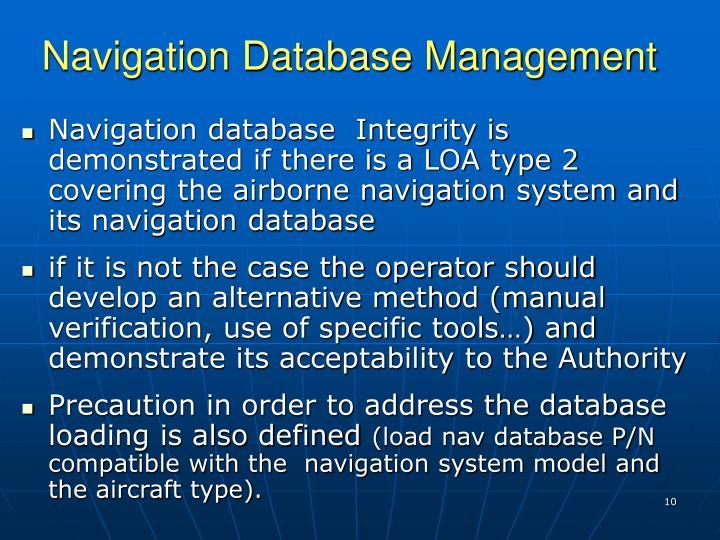 Navigation Database Management