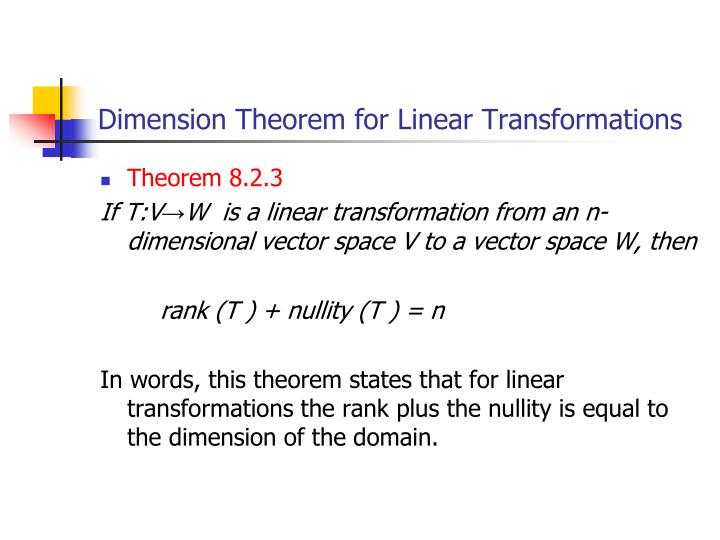 Dimension Theorem for Linear Transformations