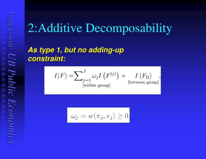 2:Additive Decomposability