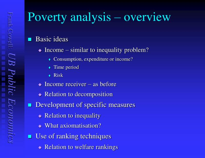 Poverty analysis – overview