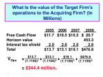 what is the value of the target firm s operations to the acquiring firm in millions