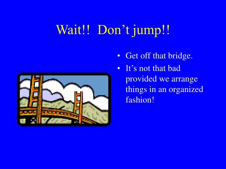 Wait!!  Don't jump!!
