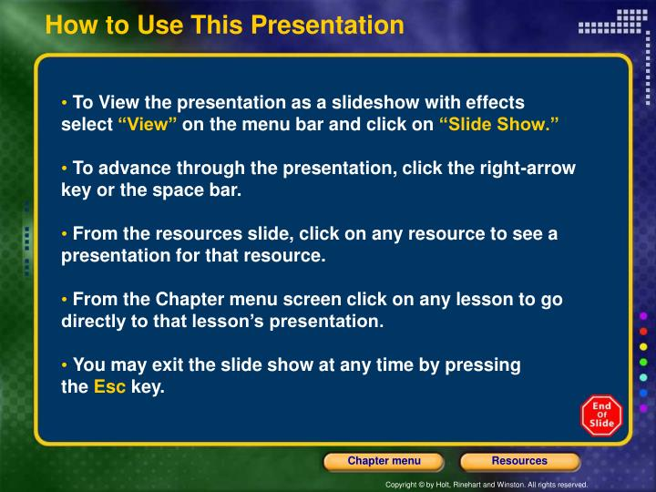 how to use this presentation n.