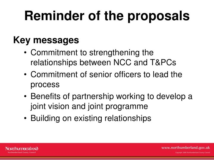 Reminder of the proposals