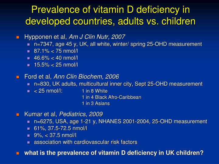 Prevalence of vitamin D deficiency in developed countries, adults vs. children
