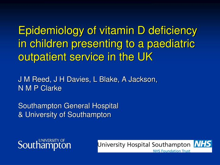 Epidemiology of vitamin D deficiency in children presenting to a paediatric outpatient service in th...