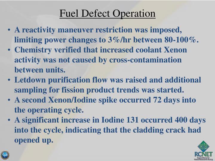 Fuel Defect Operation