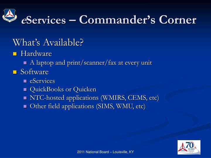 E services commander s corner1