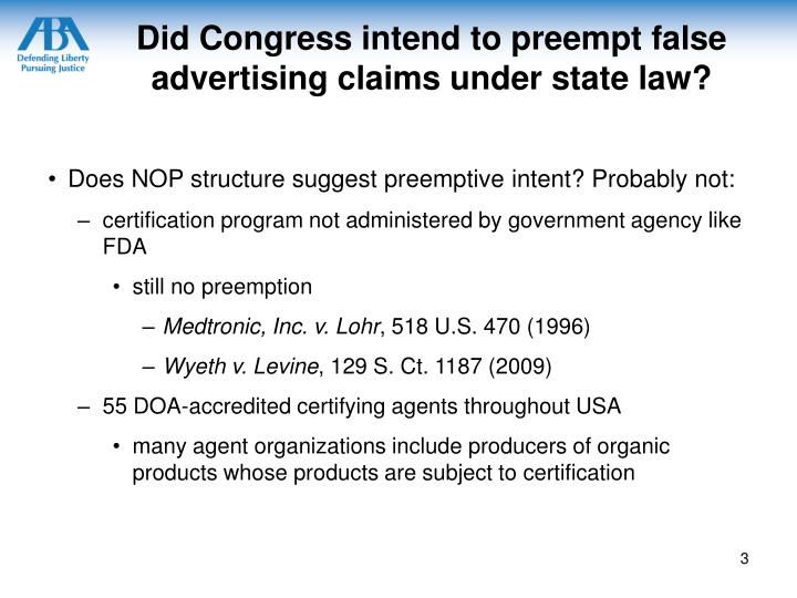 Did congress intend to preempt false advertising claims under state law