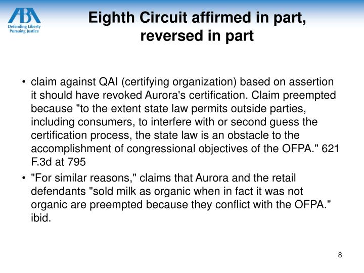 Eighth Circuit affirmed in part,
