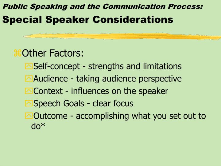 Public Speaking and the Communication Process: