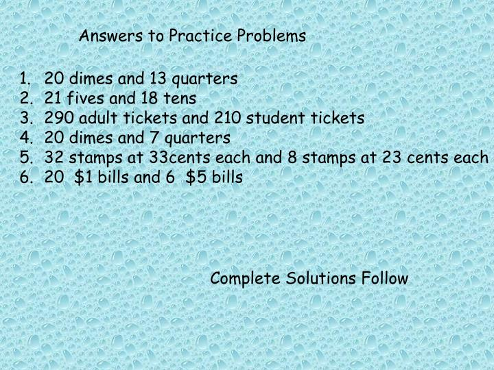Answers to Practice Problems