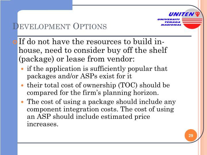 Development Options