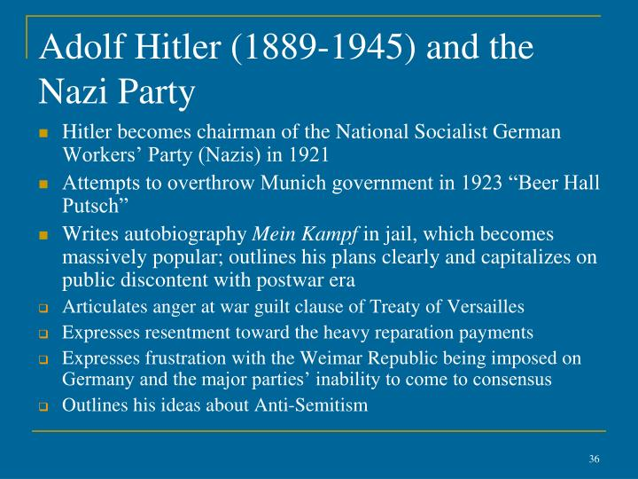 Adolf Hitler (1889-1945) and the Nazi Party