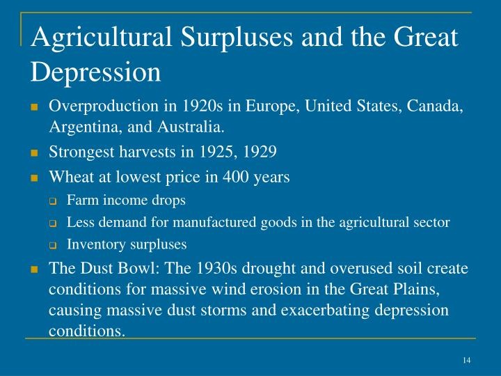 Agricultural Surpluses and the Great Depression