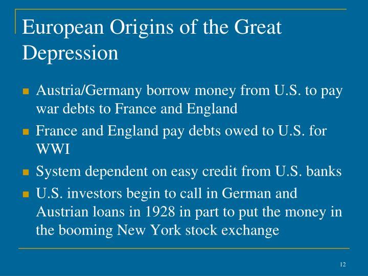European Origins of the Great Depression