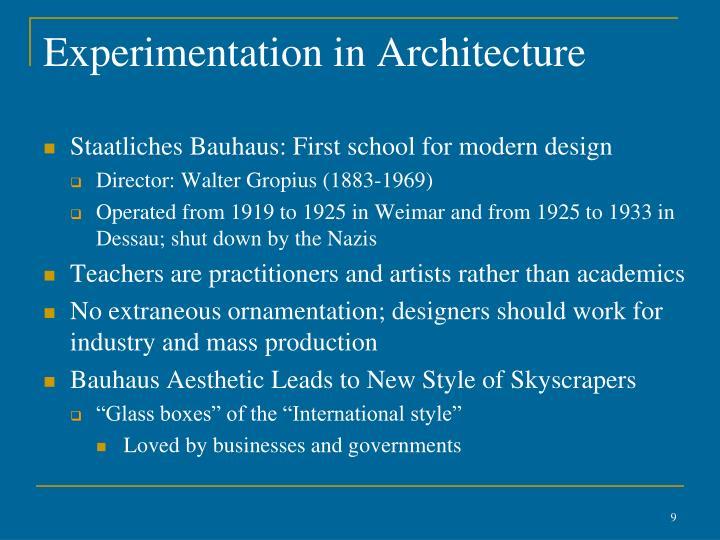 Experimentation in Architecture