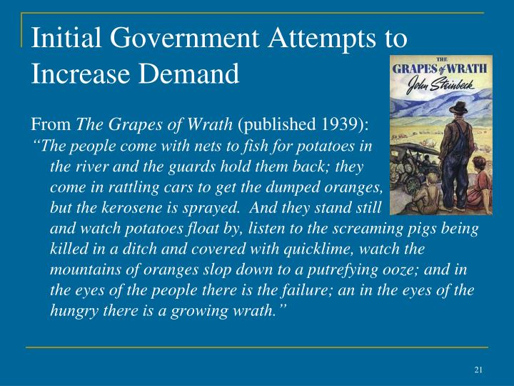 Initial Government Attempts to Increase Demand