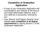 completion of graduation application