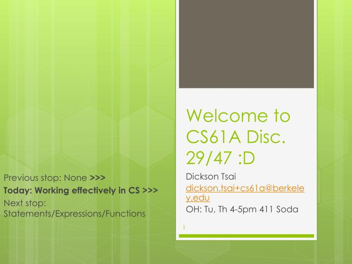PPT - Welcome to CS61A Disc  29/47 :D PowerPoint Presentation - ID