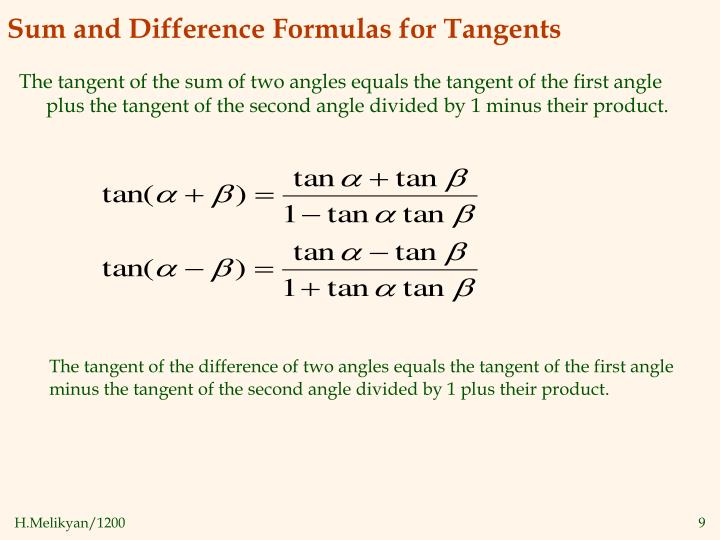 Sum and Difference Formulas for Tangents