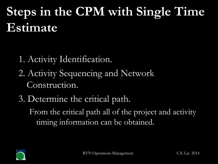 Steps in the CPM with Single Time Estimate