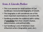 from a lincoln preface
