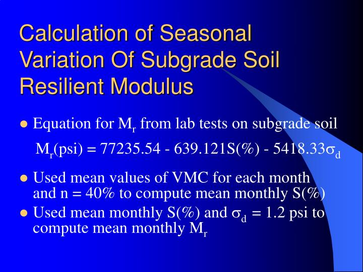 Calculation of Seasonal Variation Of Subgrade Soil Resilient Modulus
