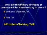 what are the primary functions of communication when working in teams2