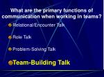 what are the primary functions of communication when working in teams3