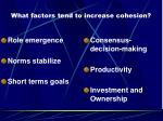 what factors tend to increase cohesion
