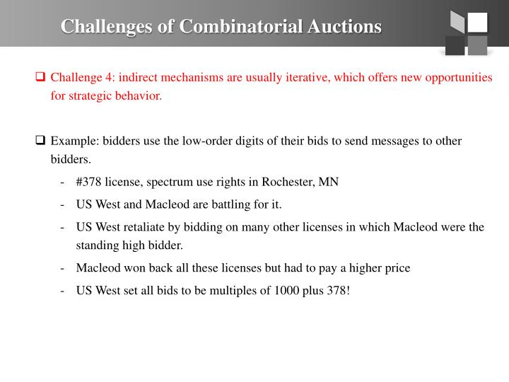 Challenges of Combinatorial Auctions