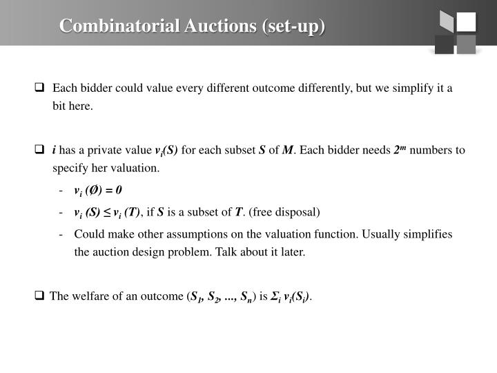 Combinatorial Auctions (set-up)
