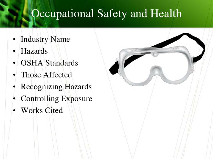 occupational safety and health n.