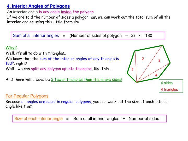 4. Interior Angles of Polygons