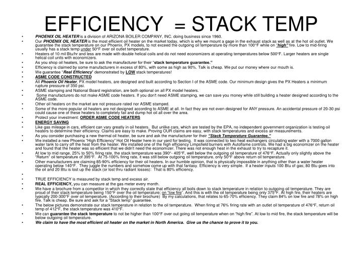 Efficiency stack temp