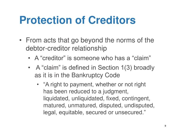 Protection of Creditors