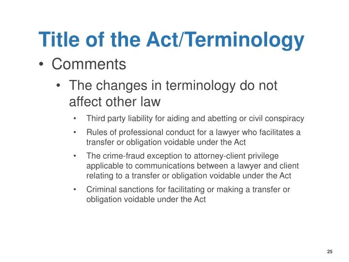 Title of the Act/Terminology