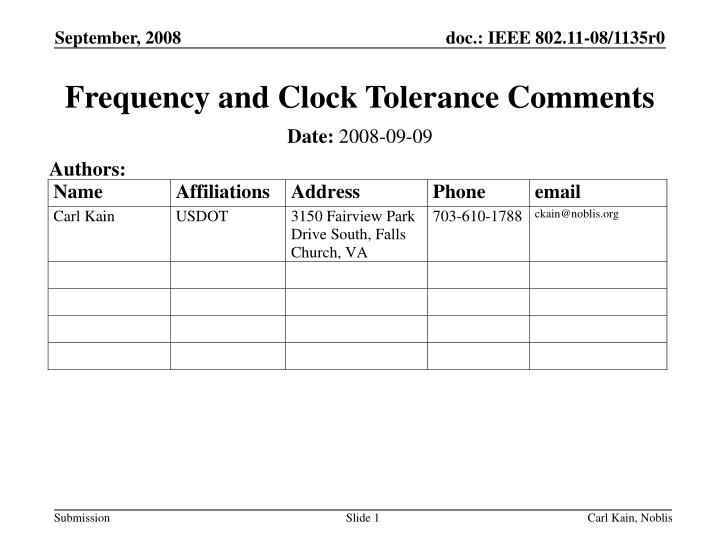 Frequency and clock tolerance comments