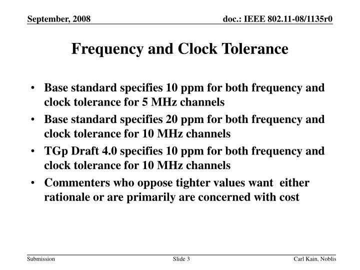 Frequency and clock tolerance