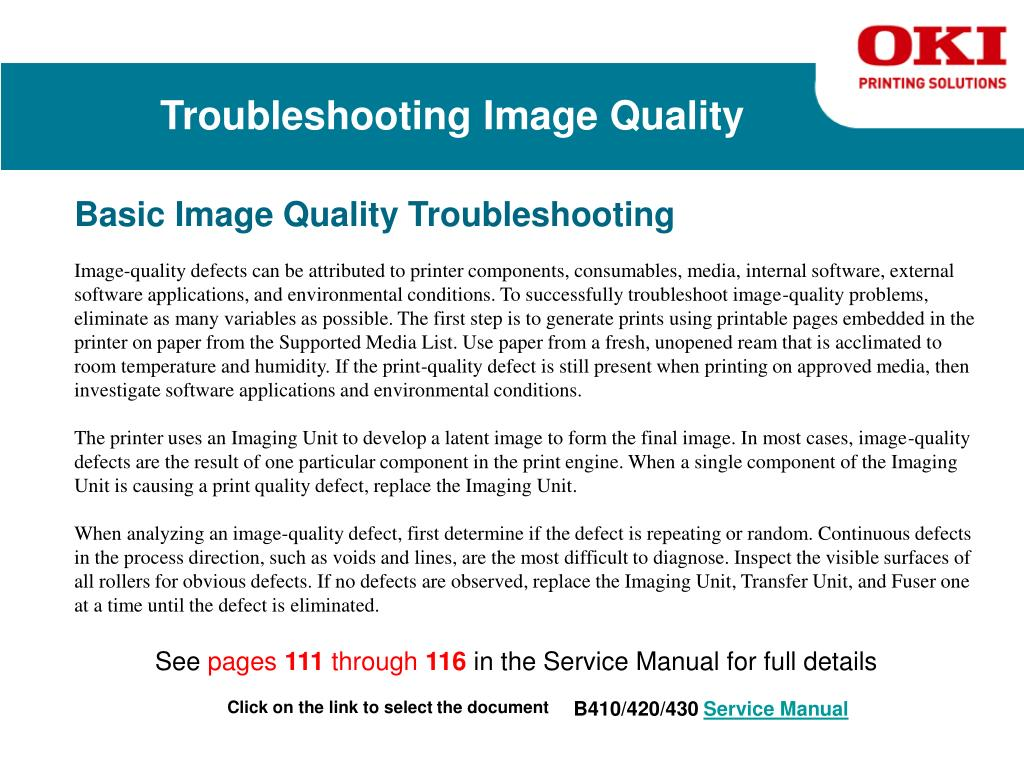 PPT - Oki Printing Solutions Service Training for the B400 Series