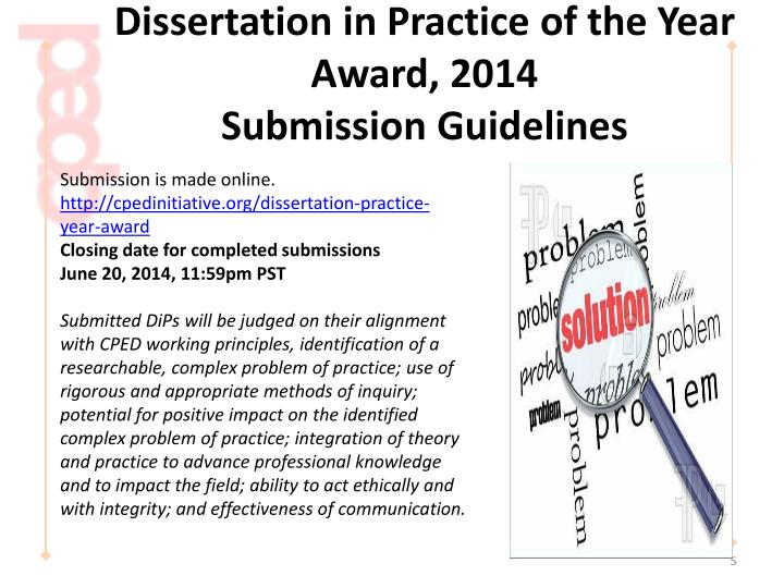 cped dissertation in practice of the year award