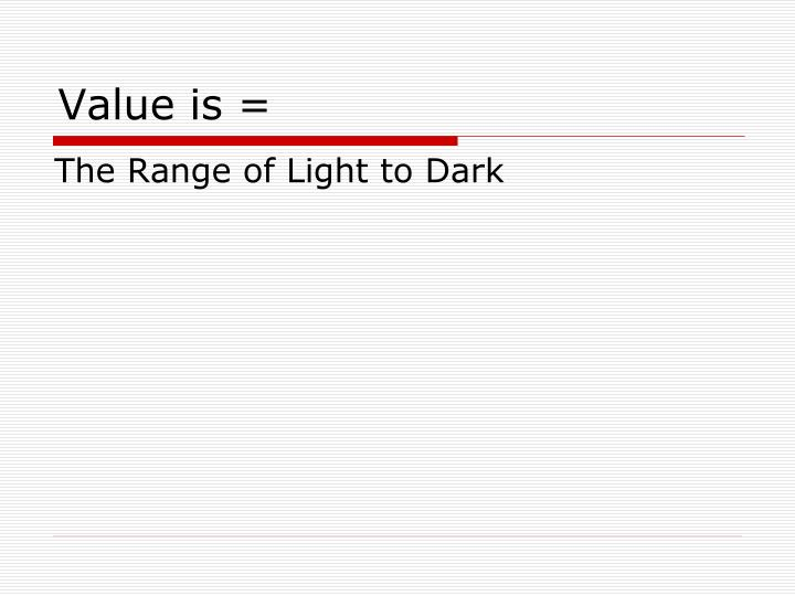 Value is =