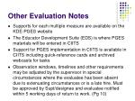 other evaluation notes