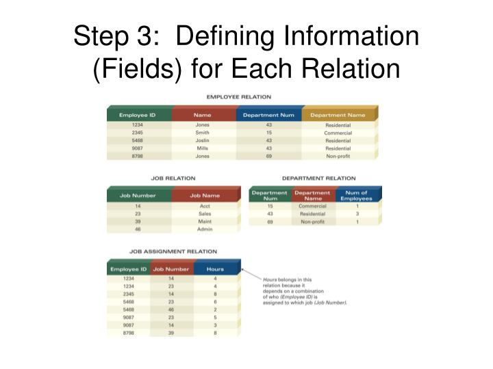 Step 3:  Defining Information (Fields) for Each Relation
