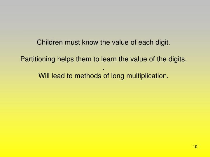 Children must know the value of each digit.