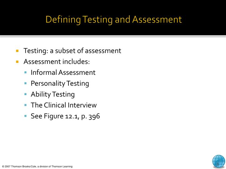 Defining testing and assessment