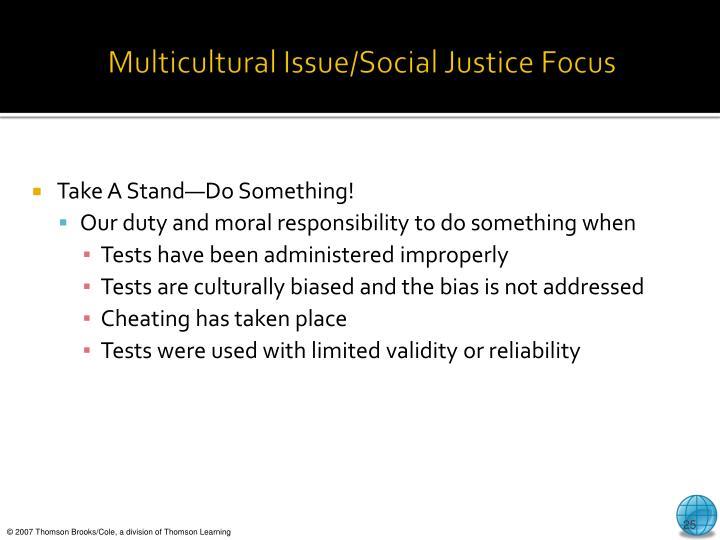 Multicultural Issue/Social Justice Focus